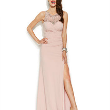 Joanna Chen Embellished Illusion Pleated Gown
