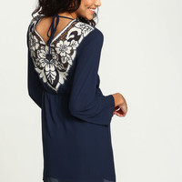 Navy Embroidered Floral Bell Dress