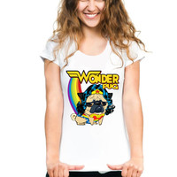 Hot sale 2017 summer fashion women's clothing wonder woman Pug T-Shirt dog Painting shirts casual Tops Cute hipster girl Tees