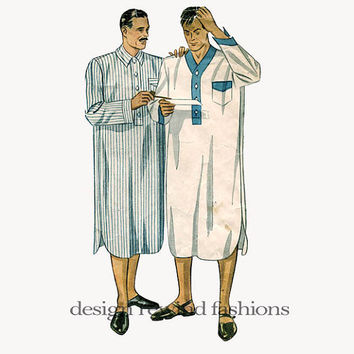 1940s Men's NIGHT SHIRT w/ Patch Pocket, Regulation Collar or Collarless - Chest Size 40 Simplicity 1886 Vintage Sewing Pattern