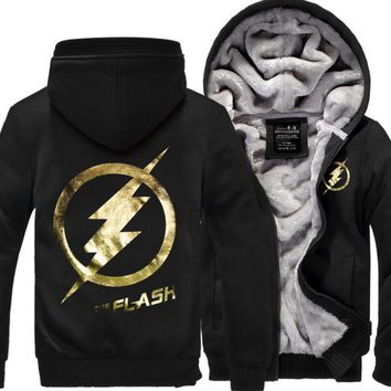 New Arrival The Flash Anime Justice League men sweatshirts 2016 winter thicken man hooded brand-clothing men hoodie hipster