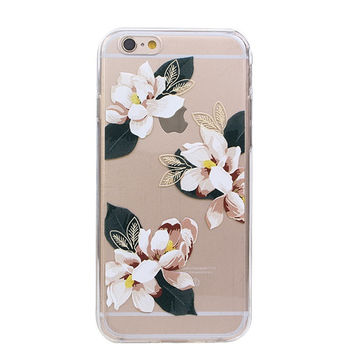 Exotic Tropical Gardenia Clear iPhone Cases For iphone 6 4.7''