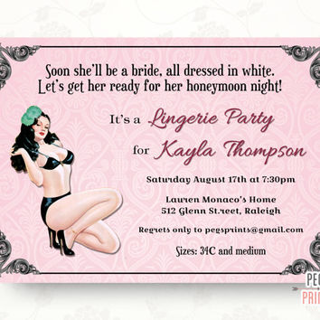 Pin Up Girl Lingerie Shower Invitation (Printable) Pinup Girl Lingerie Party Invitation
