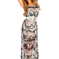 Charcoal Strapless Water Color Printed Summer Maxi Dress