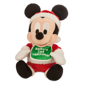 "disney parks red mickey mouse my first christmas 9"" plush new with tags"