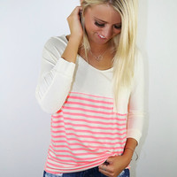 Don't Walk Away Coral & Taupe Striped Cream Long Sleeve Pocket Shirt