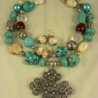 TheCraftStar - Market Place - Chunky Cross Western Turquoise Necklace Double Strand