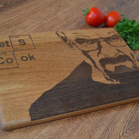 Heisenberg Cutting Board Let's Cook Wooden Cutting Board Cookware Original Gift Personalized Gift Christmas Gift Breaking Bad Birthday Gift