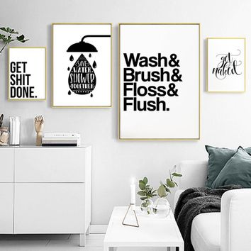 SURE LIFE Minimalist Black and White Bathroom Letters Canvas Paintings Wall Art Pictures Nordic Poster Print Home Decorations