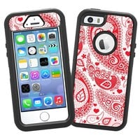 """Red Heart Bandana Paisley """"Protective Decal Skin"""" for OtterBox Defender iPhone 5s Case"""