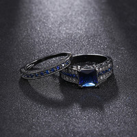 2017NEW Fashion Black Rhodium Plated Wedding Engagement Princess Cut Blue Sapphire Ring Band Pair Set Heart Shape Mother's Gifts
