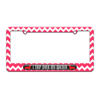 I Trip Over My Wiener - Daschund - License Plate Tag Frame - Pink Chevrons Design