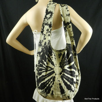 Black Tie Dye Bag Purse Sling Messenger by BenThaiProducts on Etsy