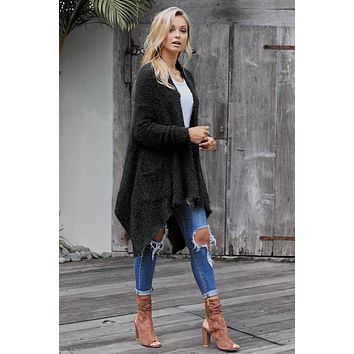 Black Winter Asymmetrical Baggy Cardigan Coat
