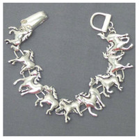 Love to Ride Silver Link Horse Clasp Bracelet