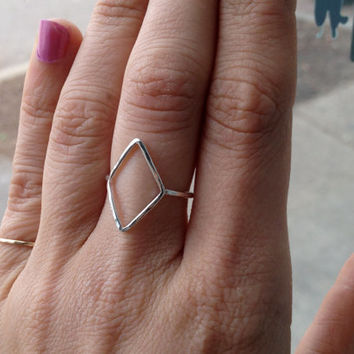 16g Sterling Silver Hammered Open Diamond Shaped Stacking Ring, Stacking Ring, Knuckle Ring, custom made to order