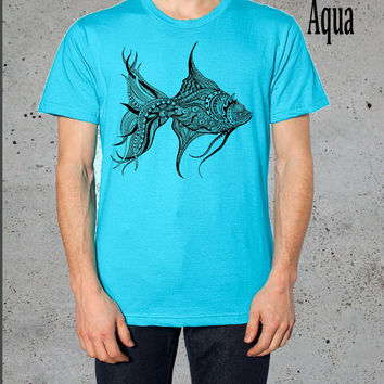 Fish Shirt - Mens Tribal Fish T shirt -  American Apparel Tri-Blend Shirt Top S M L ( Multiple Colors Available)