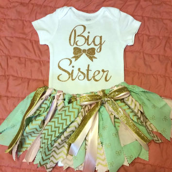 Gold Big Sister Onesuit Fabric tutu set