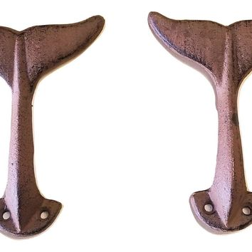 2 pc Cast Iron Whale Tail Wall Hooks w/hardware