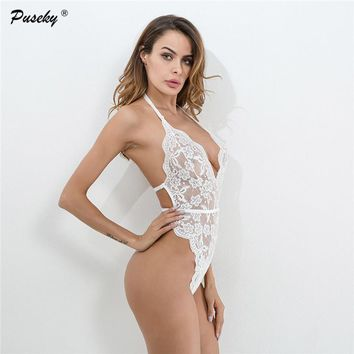 2018 Women Perspective Body Romper Summer Party Playsuits Backless Sexy Lace Bodysuit Overalls Combinaison Femme skinny clothing