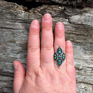 Signed Vintage Zuni Petit Point Ring / Size 7.5 / Sterling Silver Southwestern Jewelry / Navajo American Indian / Signed FW / F.W. Ondelacy