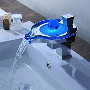 Sprinkle® Color Changing LED Widespread Waterfall Bathroom Sink Faucet Novelty Deck Mount Bath Tub Mixer Taps Bathtub Faucet Single Hole Vessel Sink Lavatory Shower Plumbing Fixtures Ceramic Valve Included Unique Designer