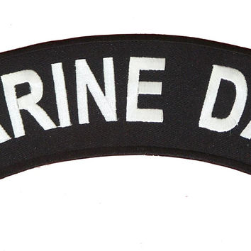 Marine Dad White on Black Top Rocker Iron on Patch for Motorcycle Biker Vest TR367