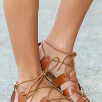 Cross Over Tan Lace-Up Sandals
