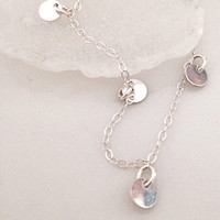 VALENTINE'S DAY, Silver Bracelet, Dangle Drop Tiny Flat Silver Blank Disc Delicate Simple Modern Silver Charm Bracelet