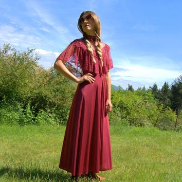 Vintage Maroon Lace Maxi Dress - 70s Boho Dress - Slinky Red Ritual Dress - Empire Waist Caplet Dress - Size Small - Medium Sheer Cape Dress