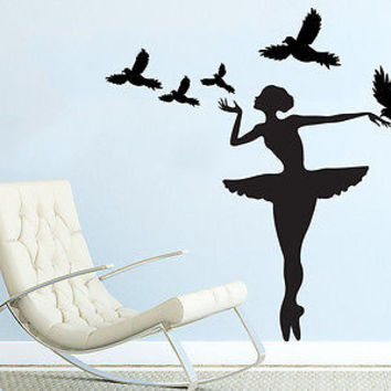 Wall Decal Ballerina Ballet Dancer Gymnastics Dance Studio Ballerina Birds C208