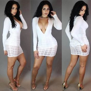 White Plaid Patchwork Grenadine Plunging Neckline Club Bodycon Mini Dress