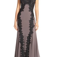 Betsy & Adam Keyhole Neck Embroidered Jersey Gown | Nordstrom