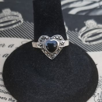 MC Onyx heart with marcasite accents sterling silver vintage ring size 7