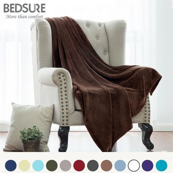 Bedsure New Soft Throw Blanket Warm Coral   Blankets Travel Flannel Sofa Solid Color Fleece Blankets For Bed Warm Cobertor