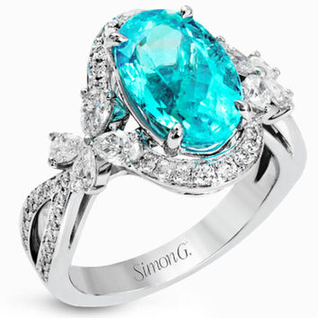 Simon G. 18K White Gold Oval Cut Blue Paraiba Tourmaline and Diamond Ring