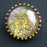 Vintage Yellow Art Glass Brooch - Gold Tone Round Austrian Aurora Borealis Costume Jewelry Pin / Circular Golden Opal Glow