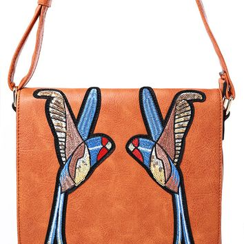 Camel Crossbody Bag With Bird Embroidery