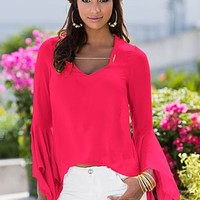 Deep Coral (DPCO) Bell Sleeve Blouse