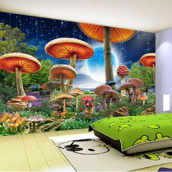 Custom 3D Photo Wallpaper For Kids Room Cartoon Fairy Mushroom Moon Night View Wall Mural Children Room Bedroom Wall Decor Paper