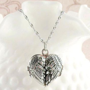 Angel Wings Heart Locket Necklace with Message 7145ebdfc