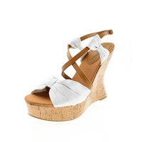 Mia Womens Isabella Satin Platforms Wedge Sandals