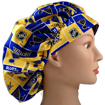 Women's Bouffant, Pixie, or Ponytail Surgical Scrub Hat Cap in St. Louis Blues
