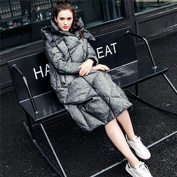 Double face winter jacket women 2017 long thicken Women down coat with a hood loose reversible Cotton linen Cloak down jacket