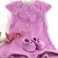 Pink Hand Knit Eli Baby Dress 12 months Caron Simply Soft Blackberry  | jazzitupwithdesignsbynancy - Children