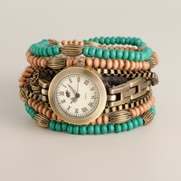 Turquoise Wood Bead Wrap Watch - World Market