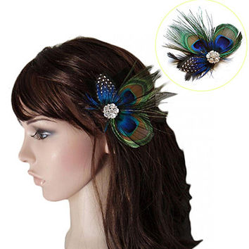 Peacock Feather Sparkling Rhinestones Bridal Wedding Hair Clip Head Accessory for Women Lady Beauty SM6
