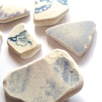 Sea worn blue floral tiles: 6 pieces, medium to large-sized, craft supplies, jewellery supplies