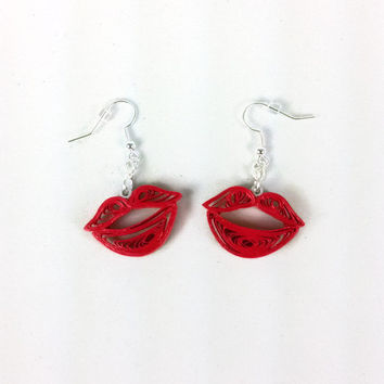 Kiss Lips Paper Quilled Earrings - paper quilling earrings, paper quilled jewelry, paper quilled kisses, kiss earrings, red lips earrings