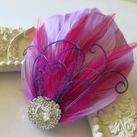 Bridal Wedding Great Gatsby Bridesmaid Feather Hair Accessory, Feather Fascinator, Bridal Hair Piece, Lavender Pink Purple  Hair Clip